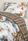 Sov Godt flanell sengesett 140x220cm vendbart mønster skog