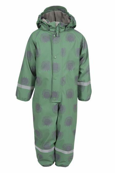 Kids World hel regndress med flott pinnsvinmotiv. Fôret. grønn