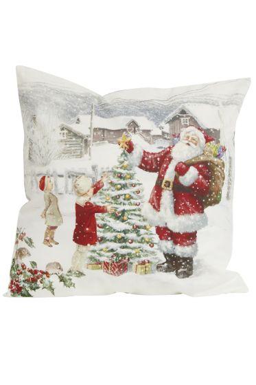 Juleglede putetrekk med julenisse hvit
