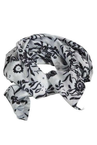 Norsk festdrakt sjal 55X55 cm sølvgrå