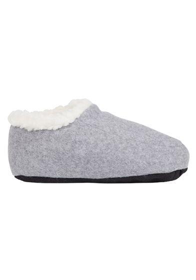 Deilige tøffelsokker med fòr på innsiden i 100% ren ull og antiskli under hele sålen. grå